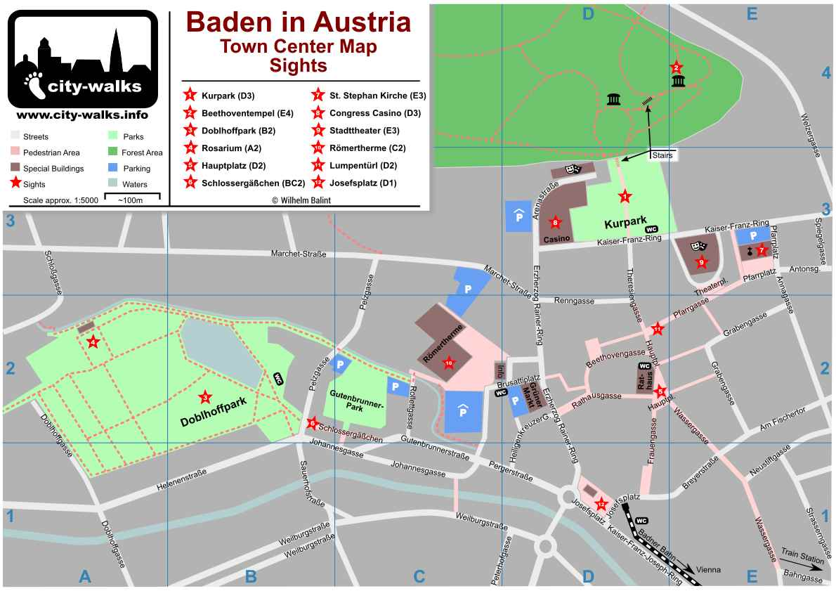 Baden in Austria Map with Parking Areas