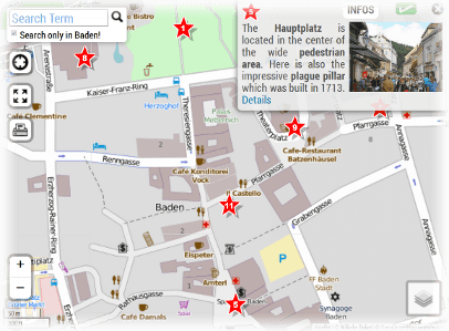Baden in Austria Tourist Map of Town Center