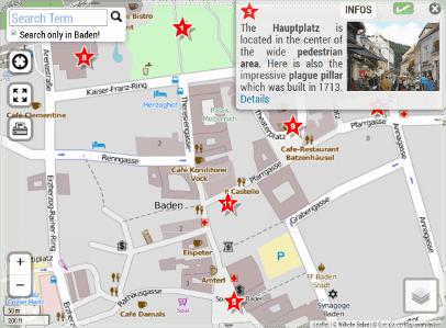 baden ausztria térkép Baden in Austria Tourist Map of Town Center baden ausztria térkép
