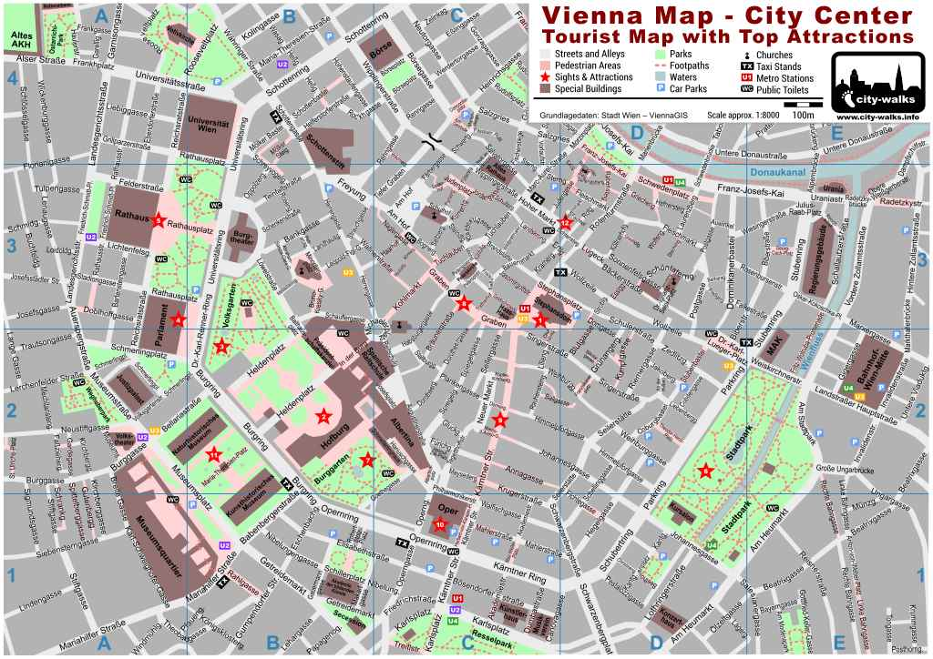 Printable Map of Vienna – Austria Tourist Attractions Map