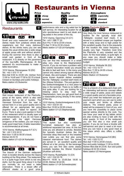 Vienna Restaurant Guide for the City Center - PDF